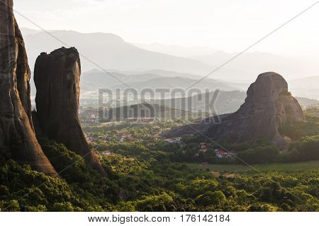 Meteora Monasteries Valley In Sunset In Greece