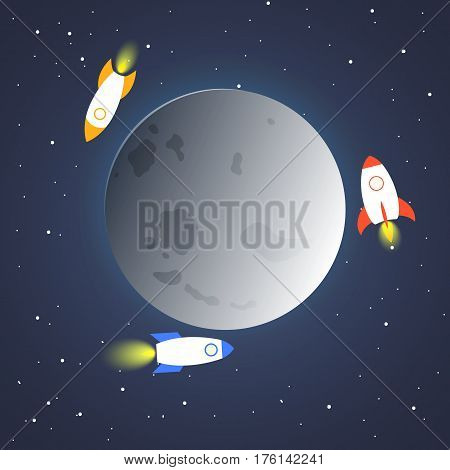 Rocket And The Space. Space Ship In The Space Near The Moon. Concept.  Start Up, Business And Promot