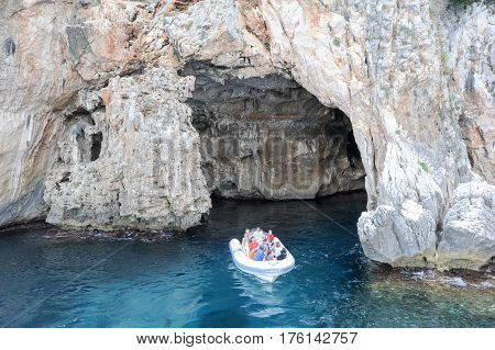 The Cave Of Cormorani On The Island Of Sardinia, Italy