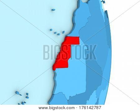 Western Sahara On Blue Political Globe