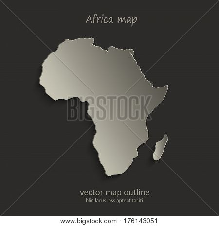 Africa map outline card blank black vector
