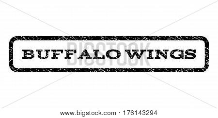 Buffalo Wings watermark stamp. Text tag inside rounded rectangle frame with grunge design style. Rubber seal stamp with dust texture. Vector black ink imprint on a white background.