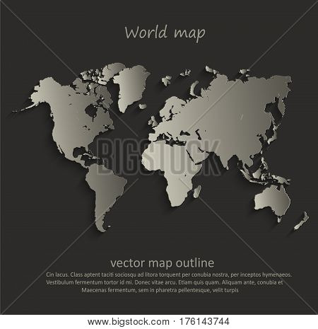 World map outline card blank black vector