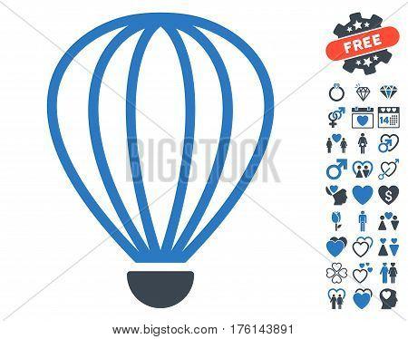 Aerostat pictograph with bonus lovely graphic icons. Vector illustration style is flat iconic smooth blue symbols on white background.