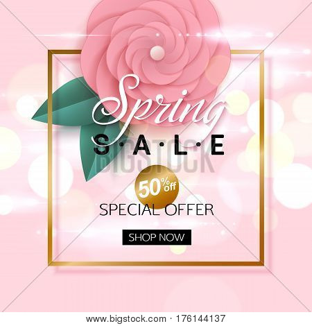 Vector spring sale banner design with rosy flowers. Vector illustration.