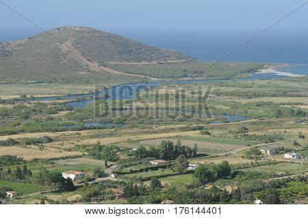 Rural landscape of the coast at Posada on Sardinia island, italy