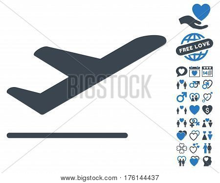 Airplane Departure pictograph with bonus lovely symbols. Vector illustration style is flat iconic smooth blue symbols on white background.