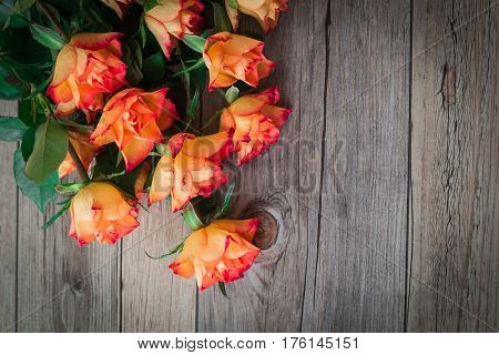 Orange roses. On a wooden background there are the beautiful bouquet of roses.