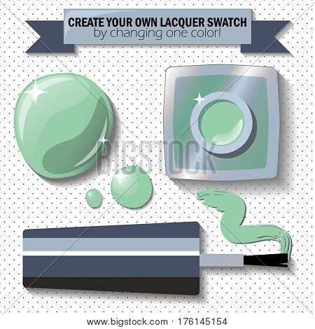Nail lacquer color swatch vector illustration. Nail polish bottle brush and drop. Sage green enamel in 3d. Opened nail lacquer with blot and brush stroke. Cosmetic flat lay on polka dot background