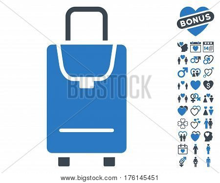 Carryon pictograph with bonus lovely design elements. Vector illustration style is flat iconic smooth blue symbols on white background.