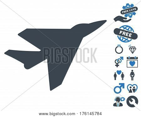 Intercepter icon with bonus lovely pictures. Vector illustration style is flat iconic smooth blue symbols on white background.
