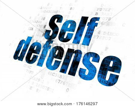 Safety concept: Pixelated blue text Self Defense on Digital background