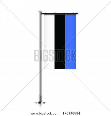 Vector banner flag of Republic of Estonia hanging on a silver metallic pole. Estonia vertical flag template isolated on a white background.