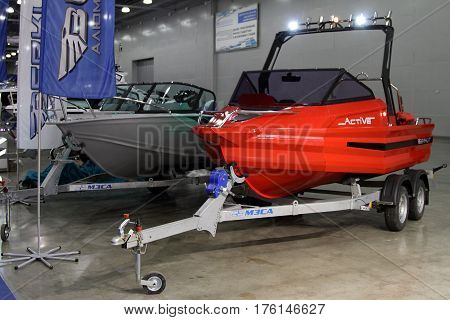 MOSCOW - MARCH 09 2017: Motor boats Berkut for 10 International boat show in Moscow. Russia.