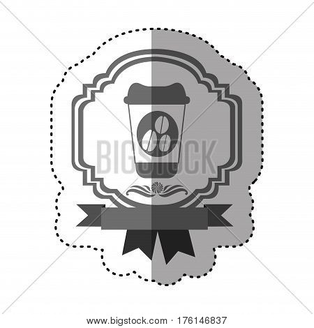 sticker gray scale border heraldic decorative ribbon with glass disposable for hot drinks with lid vector illustration