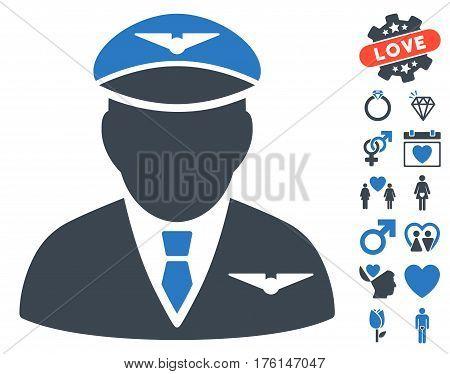 Pilot icon with bonus valentine icon set. Vector illustration style is flat iconic smooth blue symbols on white background.