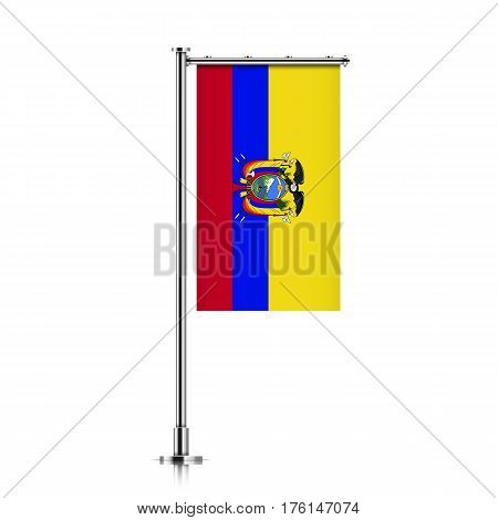 Vector banner flag of Republic of Ecuador hanging on a silver metallic pole. Republic of Ecuador vertical flag template isolated on a white background.