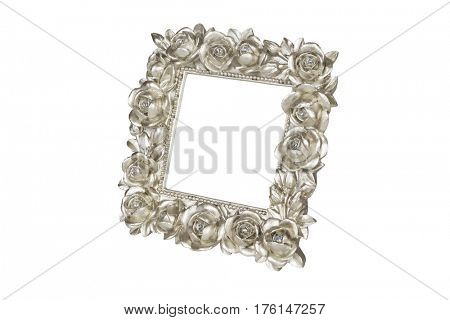Champagne picture frame with rose decor, clipping path included.