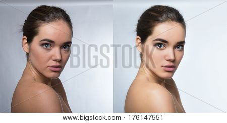Retouch - face of beautiful young woman before and after retouch. Power of retouch - before and after.