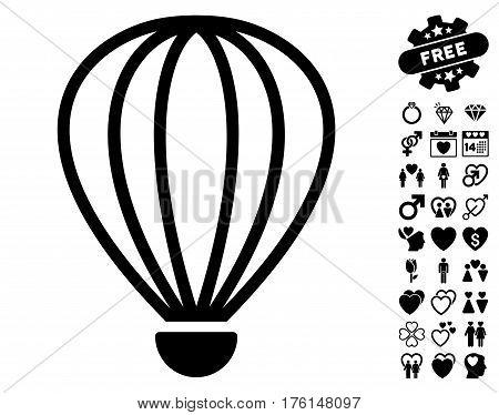 Aerostat pictograph with bonus love graphic icons. Vector illustration style is flat iconic black symbols on white background.