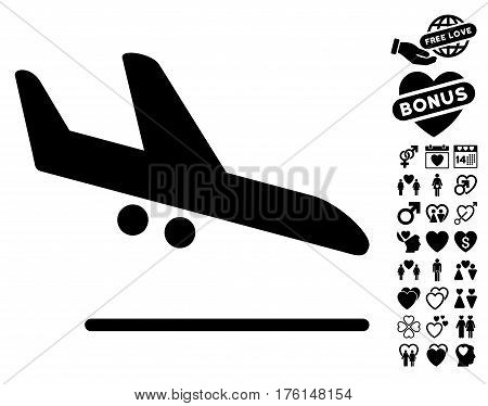 Aiplane Landing pictograph with bonus lovely graphic icons. Vector illustration style is flat iconic black symbols on white background.