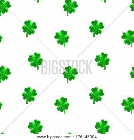 Vector crystal gem jewelry Four-leaf lucky clover. Symbol of fortune seamless vector pattern on white background.