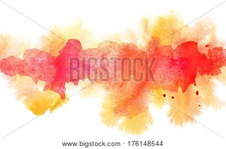 Orange diffluent watercolor line. Abstract textured background. Vivid element for your design