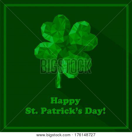 Crystal gem jewelry Four-leaf lucky clover. Symbol of fortune isolated on green background.