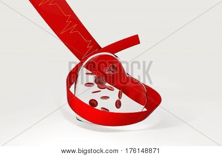 National Blood Donor. glass hearts with blood cell, 3d Illustration, isolated white