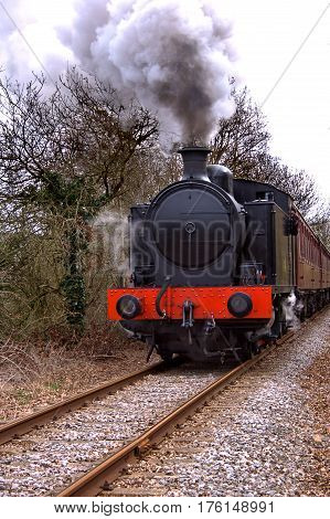 Old steam train on a preserved track