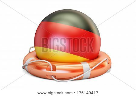 Lifebelt with Germany flag safe help and protect concept. 3D rendering