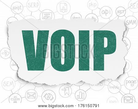 Web design concept: Painted green text VOIP on Torn Paper background with Scheme Of Hand Drawn Site Development Icons
