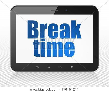 Time concept: Tablet Pc Computer with blue text Break Time on display, 3D rendering