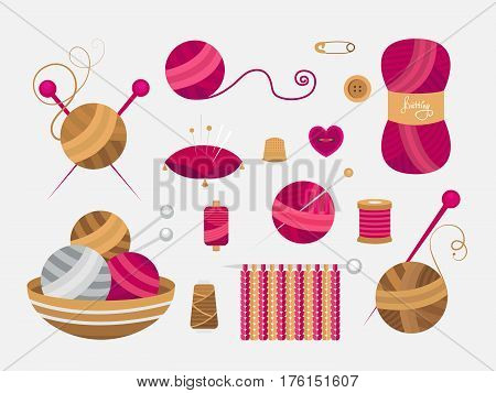 Collection of elements for knitting and sewing. Vector illustration of atelier. Set of objects knitted ball, thread, button, needles, wool. Handmade theme.