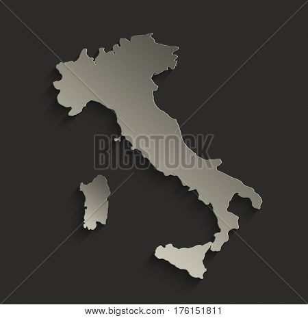 Italy map outline card blank black raster