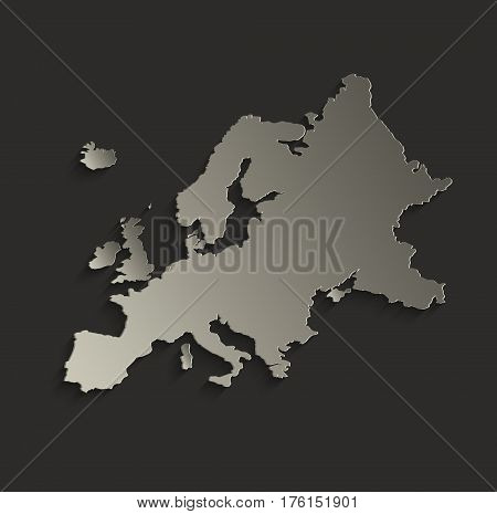 Europe map outline card blank black raster