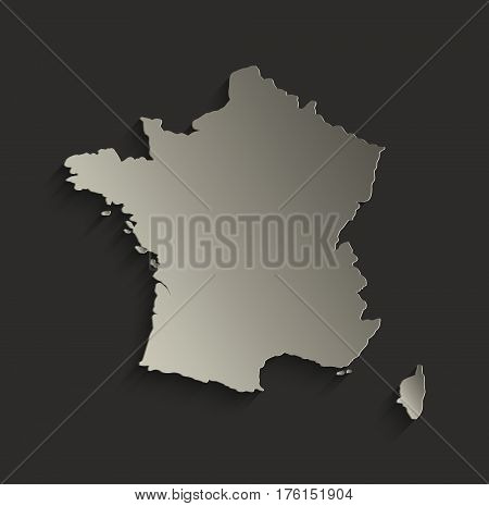 France map outline card blank black raster