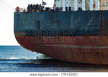 Black Cargo Ship's Stern