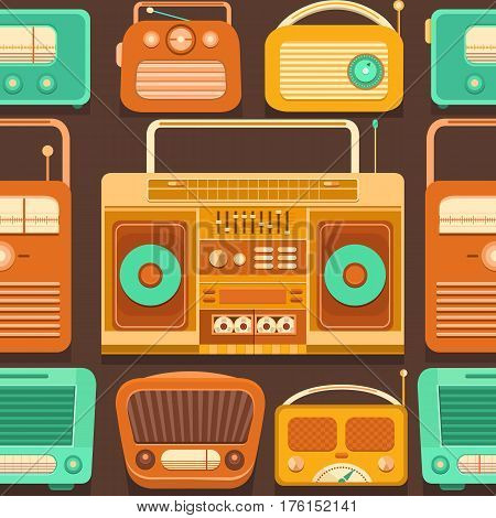 Vector seamless pattern nostalgia. Retro pattern with tape recorders and radio. Vintage template with a cassette recorder. Music 90s, 80s, 70s, 60s. Background for banner, invitation, card, album.