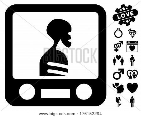 Xray Screening icon with bonus love pictograph collection. Vector illustration style is flat iconic black symbols on white background.