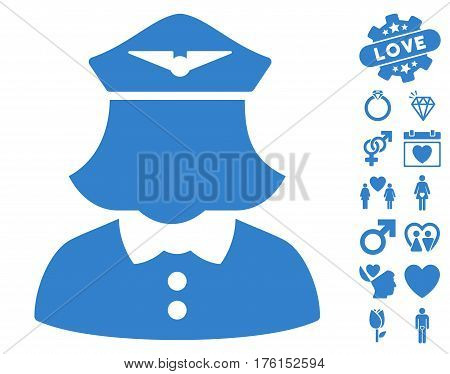 Airline Stewardess pictograph with bonus love images. Vector illustration style is flat iconic cobalt symbols on white background.