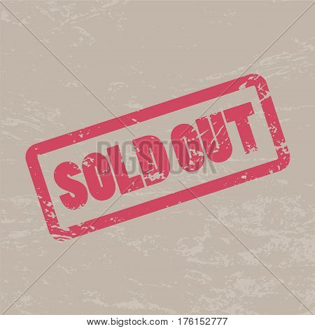 Sold out inscription in red frame on brown craft background. Rubber stamp texture Sold out. Caption word vector illustration with distressed effect. Rough watermark for shop discount price label.