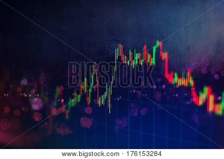 Business Success And Growth Concept.stock Market Business Graph Chart On Digital Screen.forex Market