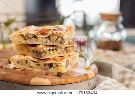 Pie With Potatoes And Meat.
