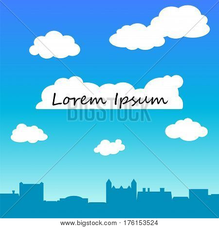 Retro town rooftops and sky vector background with text place. Minimal square background with old city roofs and blue sky with cloud. White fluffy cloud with place for text. Optimistic banner template