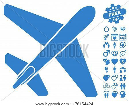 Jet Airplane icon with bonus dating clip art. Vector illustration style is flat iconic cobalt symbols on white background.