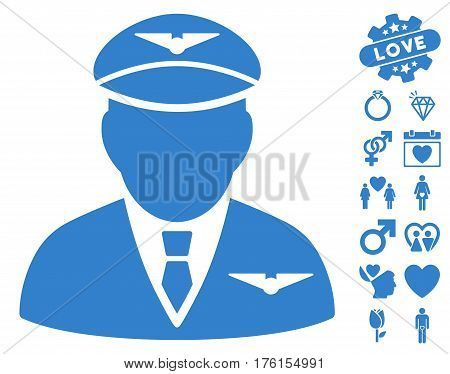 Pilot icon with bonus love pictograph collection. Vector illustration style is flat iconic cobalt symbols on white background.