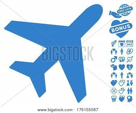 Plane icon with bonus dating graphic icons. Vector illustration style is flat iconic cobalt symbols on white background.