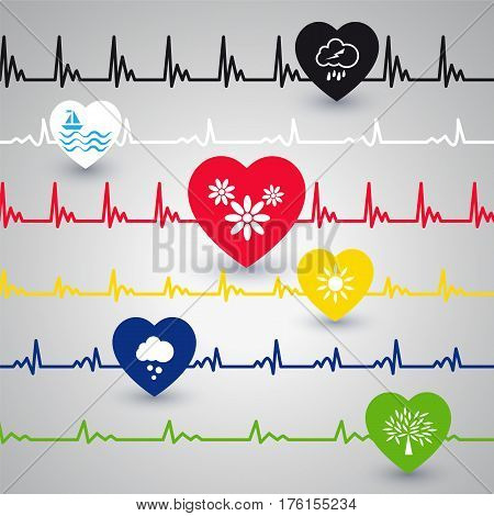 Several heartbeat lines with different heart condition. Vector illustration.