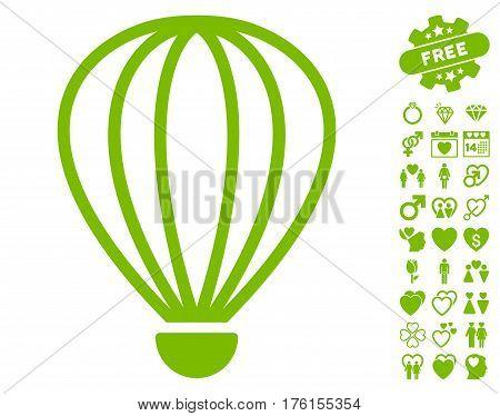 Aerostat pictograph with bonus love clip art. Vector illustration style is flat iconic eco green symbols on white background.